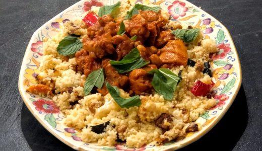 エキゾチックなモロッコ風鶏もも肉とひよこ豆の煮込みにはクスクスが合う