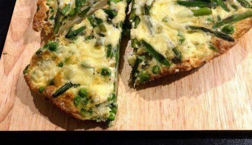 春の野菜アスパラガスを使ったイタリア風オムレツ、フリタータ